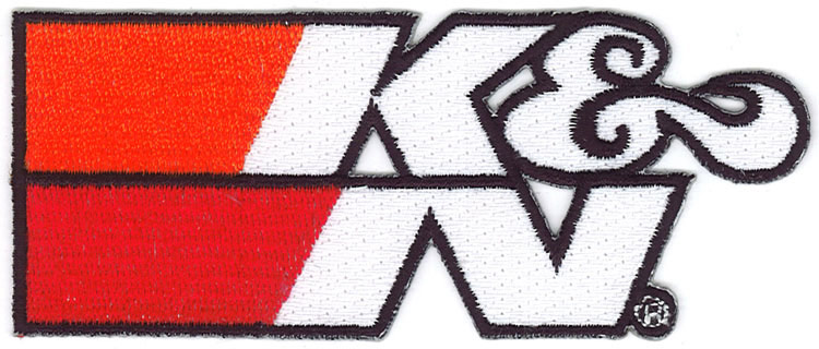 "Patch; 4-1/4"" X 1-3/4"", Wht, K&N Logo Blk Outline"