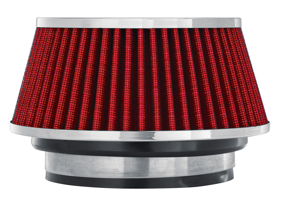 """Spectre Performance 8162 HPR Air Filter 3"""", 3.5"""", 4"""" Cone - 3.7"""" Tall - Red/Chrome"""
