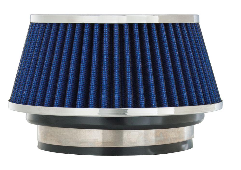 "Spectre Performance 8166 HPR Air Filter 3"", 3.5"", 4"" Cone - 3.7"" Tall - Blue/Chrome"